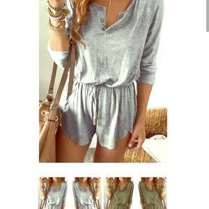 Other - Gray long sleeve sexy romper